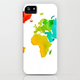 Original Watercolor - Map of The World - Travel Art - Chakra Rainbow Colors iPhone Case