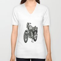 motorbike V-neck T-shirts featuring Stippled Motorbike  by Rachael Kotvojs