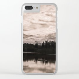 Bright Clouds Reflecting on Calm Water in Sepia Clear iPhone Case