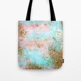 Pink and Gold Mermaid Sea Foam Glitter Tote Bag