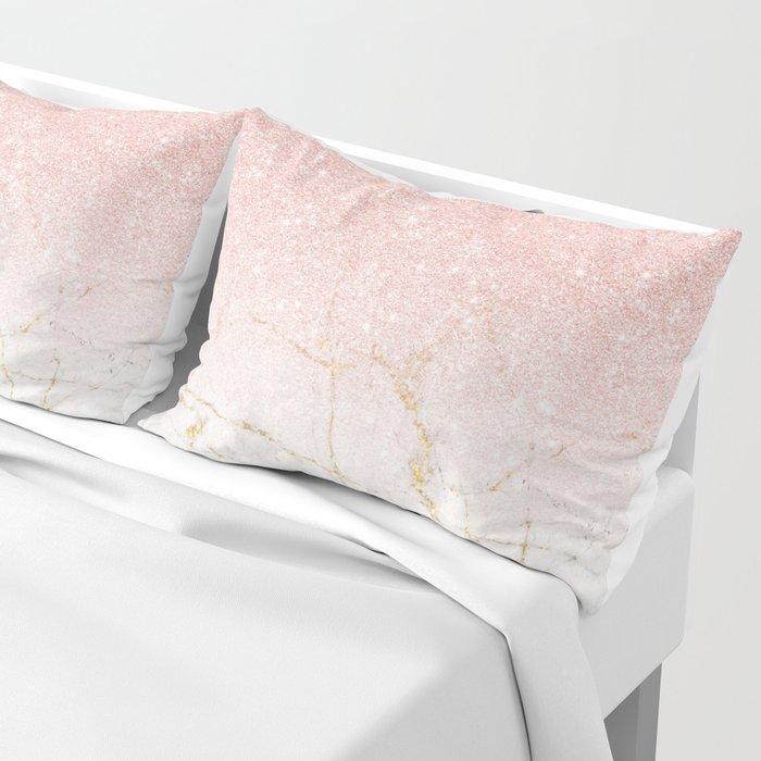 Rose Gold Glitter and gold white Marble Pillow Sham