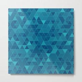 Blue on Blue Triangles Pattern Metal Print