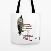 resident evil Tote Bags featuring Resident Evil Pop Art Tribute by DCon