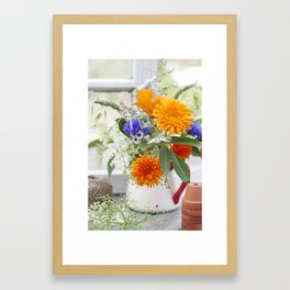 Natural flowers at the window Framed Art Print