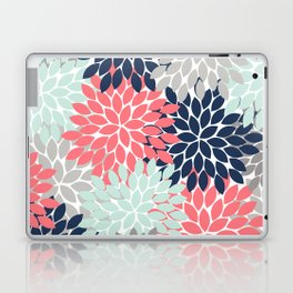 Flower Burst Petals Floral Pattern Navy Coral Mint Gray Laptop & iPad Skin