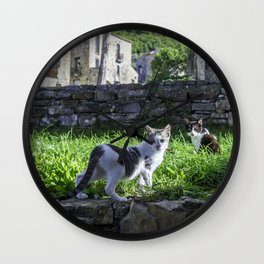cats in the ruins Wall Clock