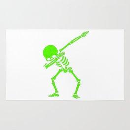 Dabbing Skeleton Green Rug