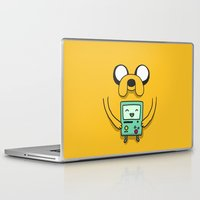 bmo Laptop & iPad Skins featuring Jake and BMO by OverClocked