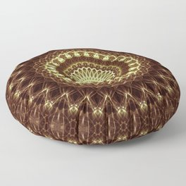 Detailed mandala in brown and golden tones Floor Pillow
