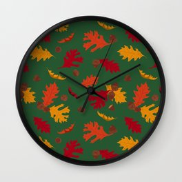 Fall Leaves and Acorns on Green Wall Clock