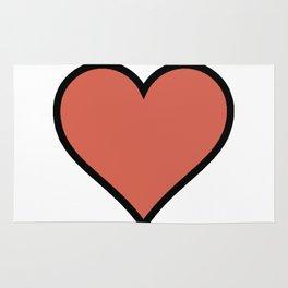 Bold Living Coral Heart Shape Digital Illustration, Minimal Art Rug