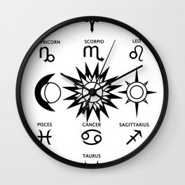 The Moon The Sun and The Stars with Zodiac Signs Wall Clock