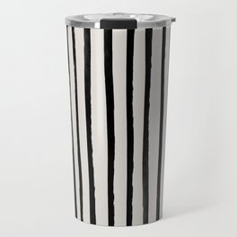 Vertical Black and White Watercolor Stripes Travel Mug