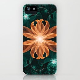 Alluring Turquoise and Orange Tiger Lily Flower iPhone Case