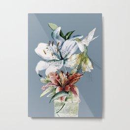 Hummingbird with Flowers Metal Print