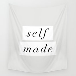 Self Made modern black and white minimalist typography home room wall decor black-white letters Wall Tapestry