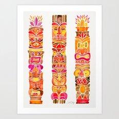 Tiki Totems – Fiery Palette Art Print