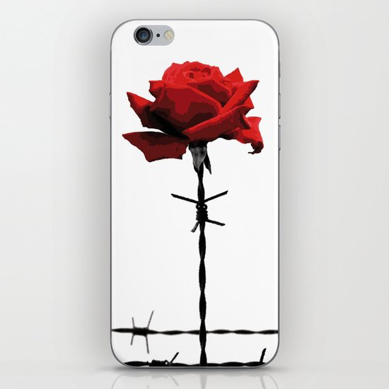 Barbed wire red rose iPhone & iPod Skin