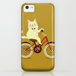 White cat on a bicycle iPhone Case