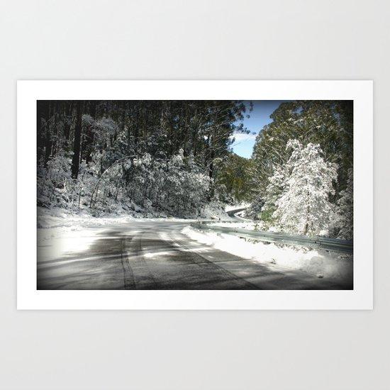 Winding road down Mt.Baw Baw Art Print