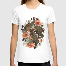 Spangled & Plumed White SMALL Womens Fitted Tee