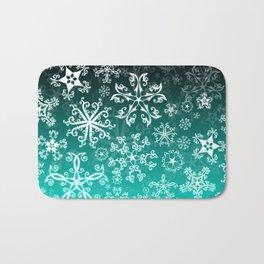 Symbols in Snowflakes on Winter Green Bath Mat