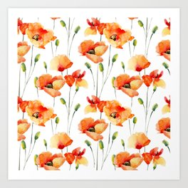 Hand Painted orange yellow watercolor poppies floral Art Print