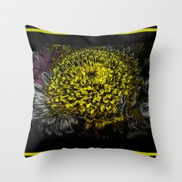 Black yellow art Throw Pillow