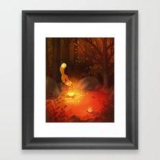 Fox and the Flower Framed Art Print