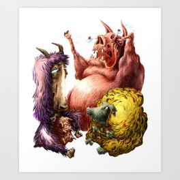 THE HOG, SHE-GOAT, AND SHEEP Art Print