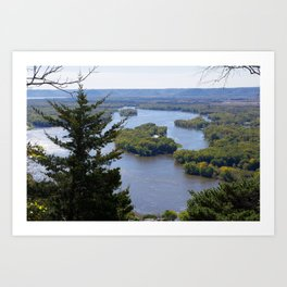 Upper Mississippi River, looking downriver from Buena Vista Park, Alma, WI Art Print