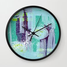 Teal Background Wall Clock
