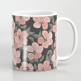 Pink Geranium Flower Pattern Coffee Mug