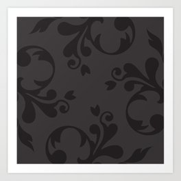 Venetian Damask, Ornaments, Swirls - Gray Black Art Print
