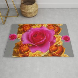 OLD GOLD-YELLOW & PINK ROSES ON GREY Rug