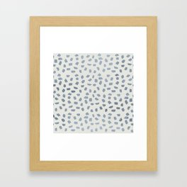 Simply Ink Splotch Indigo Blue on Lunar Gray Framed Art Print