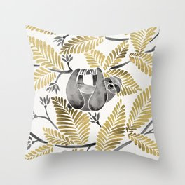 Happy Sloth – Tropical Gold Leaves Throw Pillow