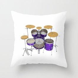 Purple Drum Kit Throw Pillow