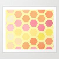 honeycomb Art Prints featuring Honeycomb by MisfitIsle