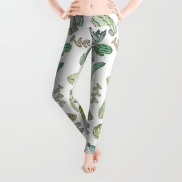 Cute Green Watercolor Paint Summer Cactus Pattern Leggings