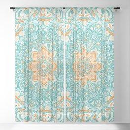 Orange and Turquoise Floral Mandala Sheer Curtain