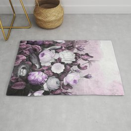 Pink Lavender Roses Gray Birds Temple of Flora Rug