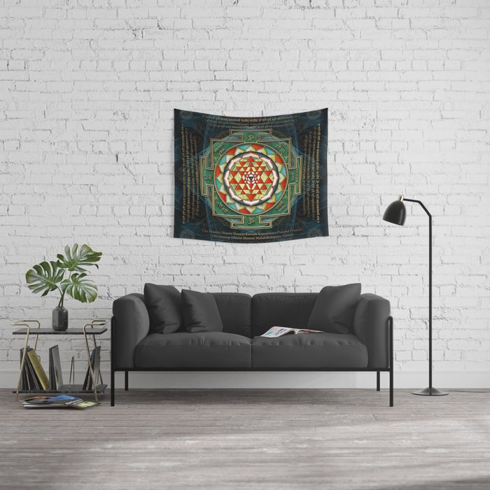 Maha Lakshmi (Laxmi) Mantra & Shri Yantra - Wealth Giving Wall Tapestry