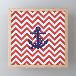 Blue Anchor on Red and White Chevron Pattern Framed Mini Art Print