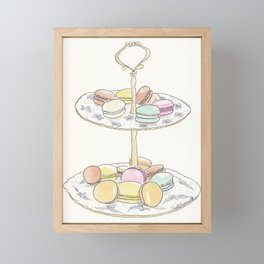 French Macarons Take a Stand, French Paris Pastry illustration Framed Mini Art Print