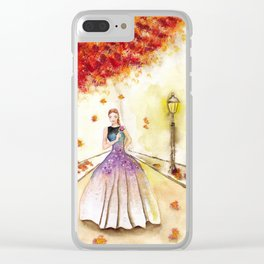 Autumn Girl Watercolor Illustration. Clear iPhone Case