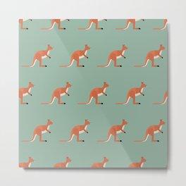 Kangaroos on green Metal Print