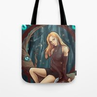 leah flores Tote Bags featuring Leah by Tiphs