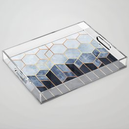 Soft Blue Hexagons Acrylic Tray
