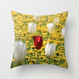 tulips in a field of daisies Throw Pillow